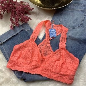 Free People Coral Lace Bralette NWT